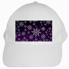 Christmas Star Ice Crystal Purple Background White Cap