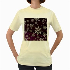 Christmas Star Ice Crystal Purple Background Women s Yellow T Shirt