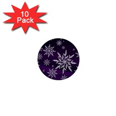 Christmas Star Ice Crystal Purple Background 1  Mini Buttons (10 Pack)