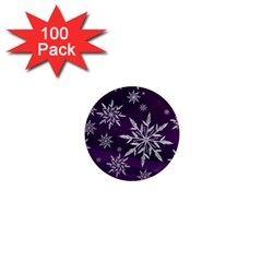 Christmas Star Ice Crystal Purple Background 1  Mini Magnets (100 Pack)