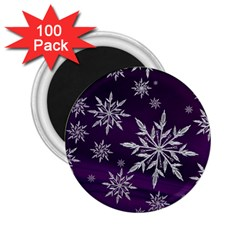 Christmas Star Ice Crystal Purple Background 2 25  Magnets (100 Pack)