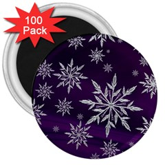 Christmas Star Ice Crystal Purple Background 3  Magnets (100 Pack)