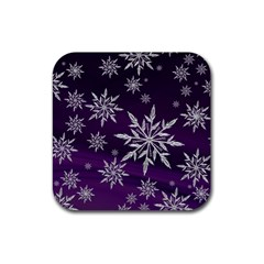 Christmas Star Ice Crystal Purple Background Rubber Coaster (square)