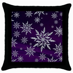 Christmas Star Ice Crystal Purple Background Throw Pillow Case (black)