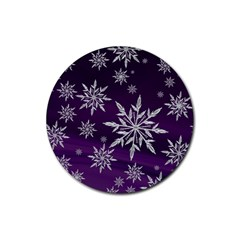 Christmas Star Ice Crystal Purple Background Rubber Coaster (round)