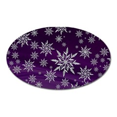 Christmas Star Ice Crystal Purple Background Oval Magnet