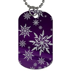 Christmas Star Ice Crystal Purple Background Dog Tag (one Side)
