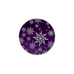 Christmas Star Ice Crystal Purple Background Golf Ball Marker