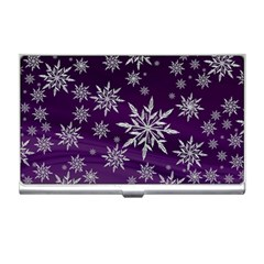 Christmas Star Ice Crystal Purple Background Business Card Holders