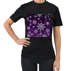Christmas Star Ice Crystal Purple Background Women s T Shirt (black) (two Sided)