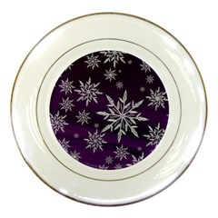 Christmas Star Ice Crystal Purple Background Porcelain Plates
