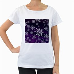 Christmas Star Ice Crystal Purple Background Women s Loose Fit T Shirt (white)
