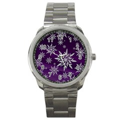 Christmas Star Ice Crystal Purple Background Sport Metal Watch