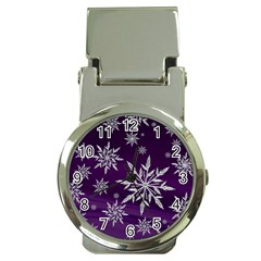 Christmas Star Ice Crystal Purple Background Money Clip Watches