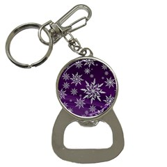Christmas Star Ice Crystal Purple Background Button Necklaces