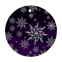 Christmas Star Ice Crystal Purple Background Round Ornament (two Sides)