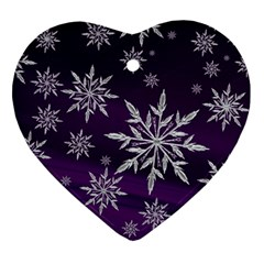 Christmas Star Ice Crystal Purple Background Heart Ornament (two Sides)