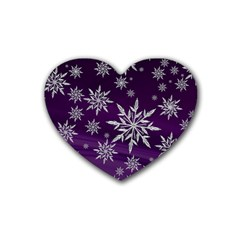 Christmas Star Ice Crystal Purple Background Heart Coaster (4 Pack)