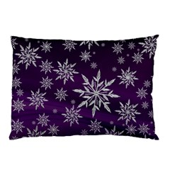 Christmas Star Ice Crystal Purple Background Pillow Case