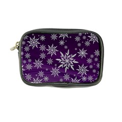 Christmas Star Ice Crystal Purple Background Coin Purse