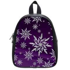 Christmas Star Ice Crystal Purple Background School Bag (small)