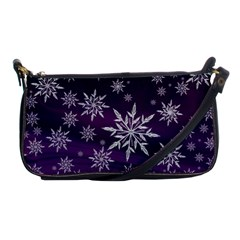 Christmas Star Ice Crystal Purple Background Shoulder Clutch Bags