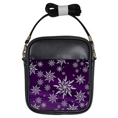 Christmas Star Ice Crystal Purple Background Girls Sling Bags