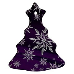 Christmas Star Ice Crystal Purple Background Christmas Tree Ornament (two Sides)