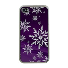 Christmas Star Ice Crystal Purple Background Apple Iphone 4 Case (clear)