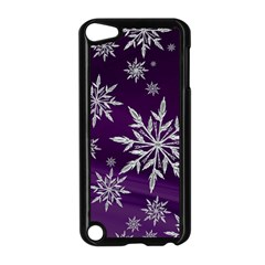 Christmas Star Ice Crystal Purple Background Apple Ipod Touch 5 Case (black)