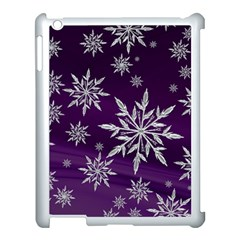 Christmas Star Ice Crystal Purple Background Apple Ipad 3/4 Case (white)