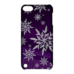 Christmas Star Ice Crystal Purple Background Apple Ipod Touch 5 Hardshell Case With Stand