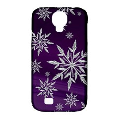 Christmas Star Ice Crystal Purple Background Samsung Galaxy S4 Classic Hardshell Case (pc+silicone)