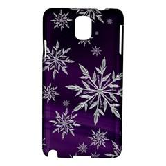 Christmas Star Ice Crystal Purple Background Samsung Galaxy Note 3 N9005 Hardshell Case