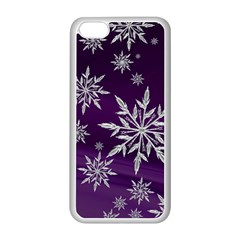 Christmas Star Ice Crystal Purple Background Apple Iphone 5c Seamless Case (white)