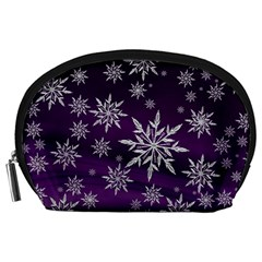 Christmas Star Ice Crystal Purple Background Accessory Pouches (large)