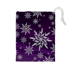 Christmas Star Ice Crystal Purple Background Drawstring Pouches (large)
