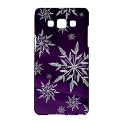 Christmas Star Ice Crystal Purple Background Samsung Galaxy A5 Hardshell Case