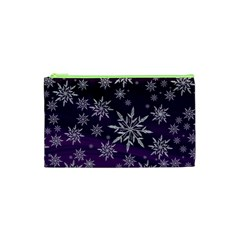 Christmas Star Ice Crystal Purple Background Cosmetic Bag (xs)