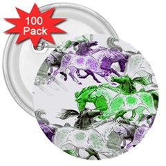 Horse Horses Animal World Green 3  Buttons (100 Pack)