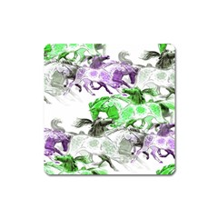 Horse Horses Animal World Green Square Magnet