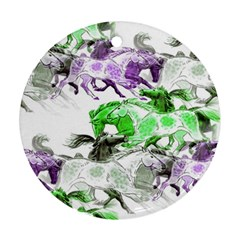 Horse Horses Animal World Green Round Ornament (two Sides)
