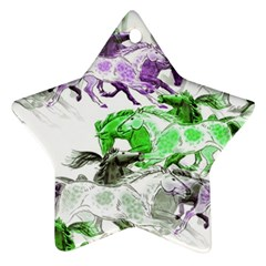 Horse Horses Animal World Green Star Ornament (two Sides)