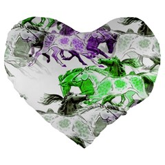 Horse Horses Animal World Green Large 19  Premium Heart Shape Cushions