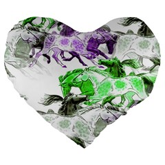 Horse Horses Animal World Green Large 19  Premium Flano Heart Shape Cushions