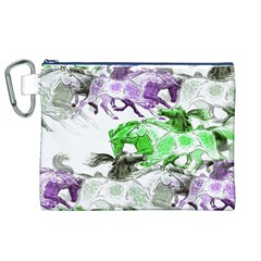 Horse Horses Animal World Green Canvas Cosmetic Bag (xl)