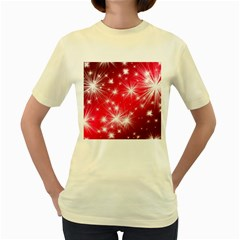 Christmas Star Advent Background Women s Yellow T Shirt