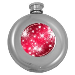 Christmas Star Advent Background Round Hip Flask (5 Oz)