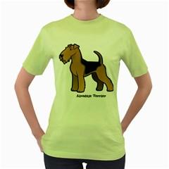 Airedale Terrier Women s Green T Shirt