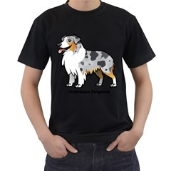 Australian Shepherd Men s T Shirt (black) (two Sided)